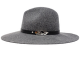 Ultra-Stiff Panama Hat & Leather Band with Charm - Grey