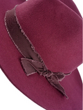 Wool Panama Hat with Matching Trim - Burgundy