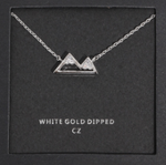 CZ Topped Mountain Necklace - (White or Yellow Gold Dipped)