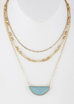Mixed Layered Necklace with Pendant (Multiple Colors)