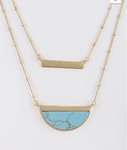 Layered Half Circle Necklace - Turquoise