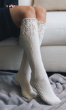 Knee High Pointelle Ribbed Socks - Black