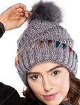 CC Pom Hat with Ombre Dyed Yarn Detail