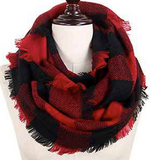 Buffalo Plaid Woven Infinity Scarf (Multiple Colors)