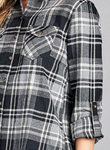 Plaid Long Sleeve Front Pocket