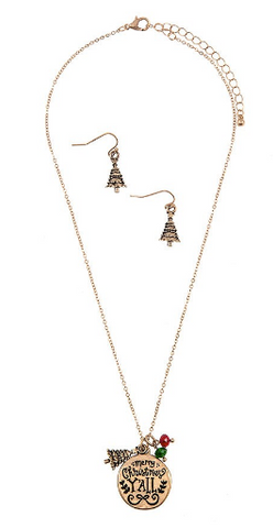 Merry Christmas Y'all Necklace Set (Silver or Gold)