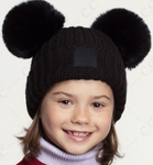CC Kids Double Pom Beanie with Rubber Patch (Multiple Colors)