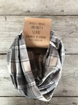 Flannel Infinity Scarf - Gray and White Plaid