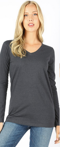 Cotton V-Neck Long Sleeve (Multiple Colors) - Plus