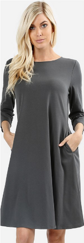 3/4 Sleeve A-Line Dress (Multiple Colors)
