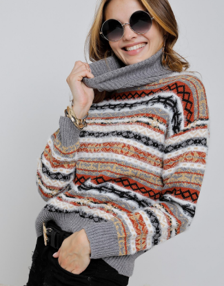 Stripe-Patterned Cowl Neck Sweater