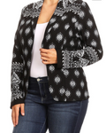 Lightweight Mixed-Print Blazer - Black - Plus (Fits like L/XL/2X)