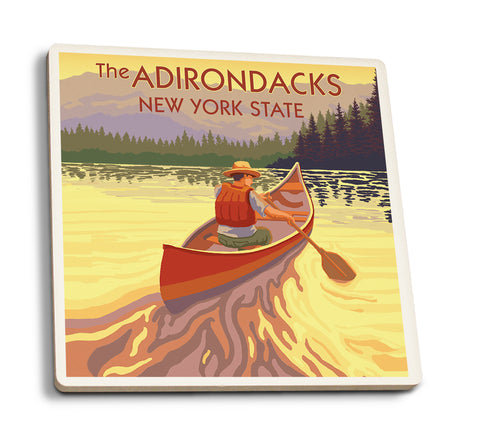 Canoe Scene - Adirondacks New York Coasters