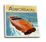 Wooden Boat on Lake Adirondacks Ceramic Coaster