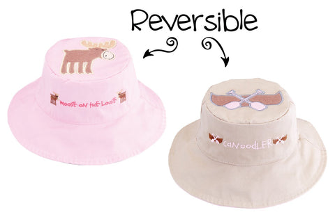 Reversible Kids' Sun Hat - Moose / Canoe