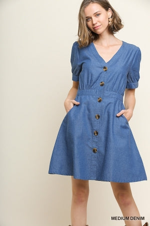 Medium Denim Fabric Short Puff Sleeve Dress