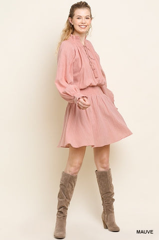 Mauve Long Puff Sleeve High Neck Dress