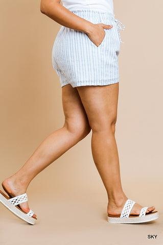 Navy Striped High Waist Shorts - Plus