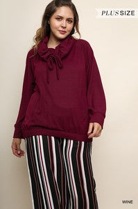 Wine Long Sleeve Cowl Neck Knit Top  - Plus
