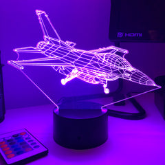 Carve Craftworks, LLC F-16 3D Optical Illusion Lamp