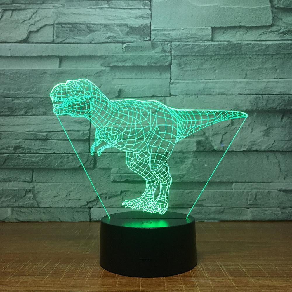 Tyrannosaurus Rex Dinosaur (1) - 3D Optical Illusion Lamp - carve-craftworks-llc