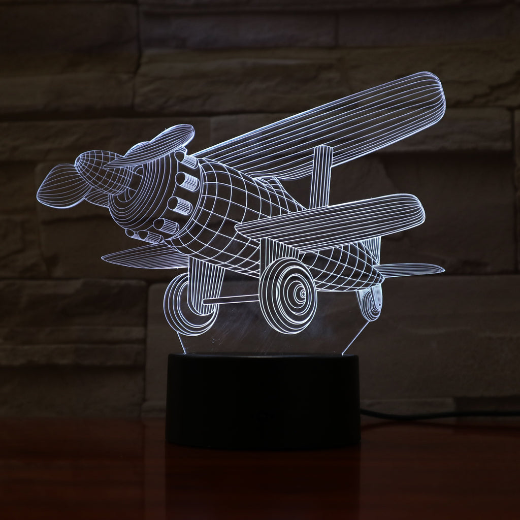 Plane - 3D Optical Illusion Lamp - carve-craftworks-llc