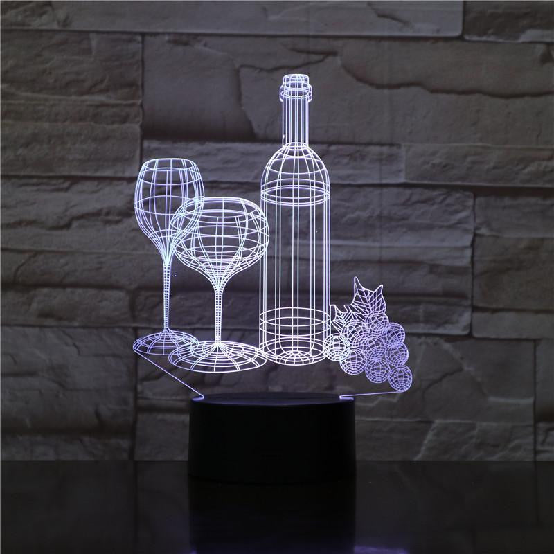 Wine Bottle and Glasses - 3D Optical Illusion Lamp - Carve Craftworks, LLC