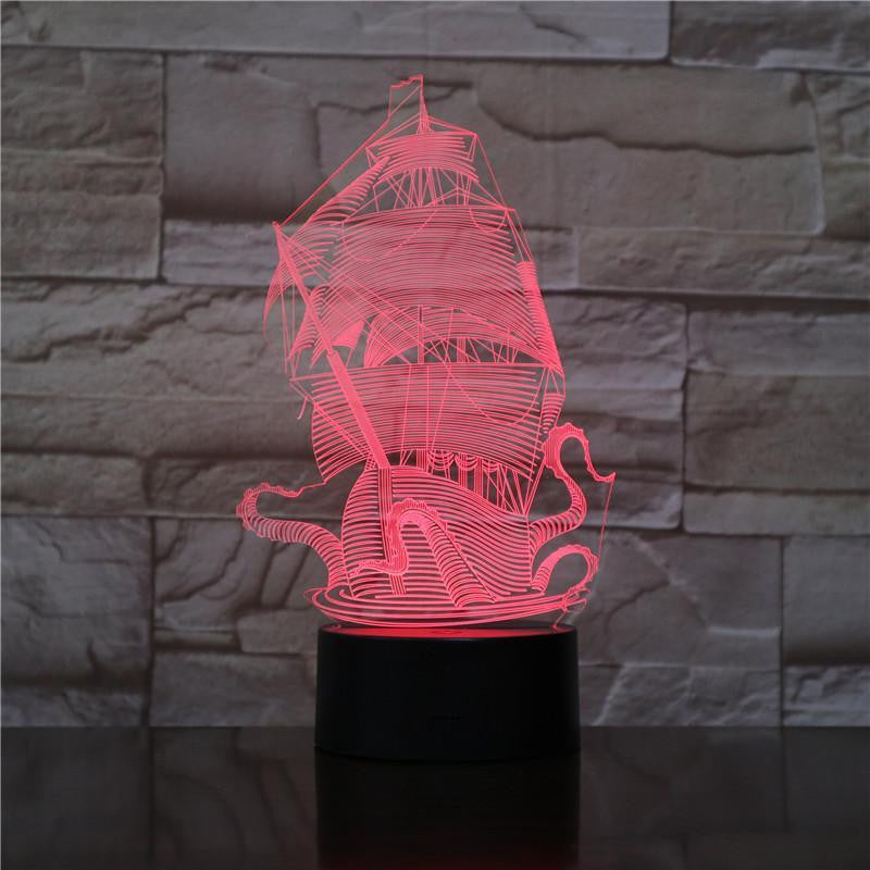 The Kraken - 3D Optical Illusion Lamp Night - carve-craftworks-llc