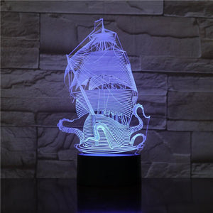 The Kraken - 3D Optical Illusion Lamp Night Light - Carve Craftworks, LLC