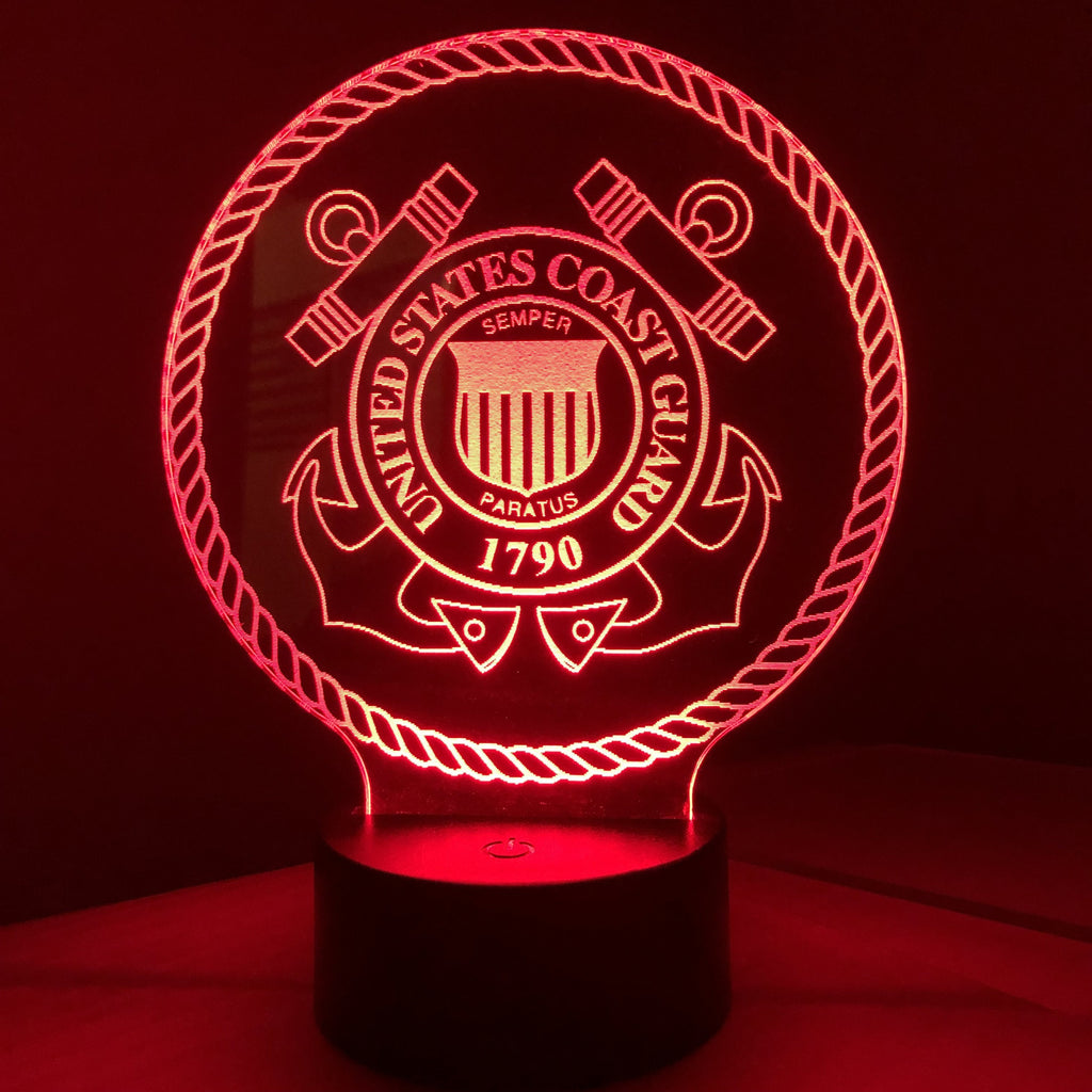 United States Coast Guard - 3D Optical Illusion Lamp Night Light - Carve Craftworks, LLC