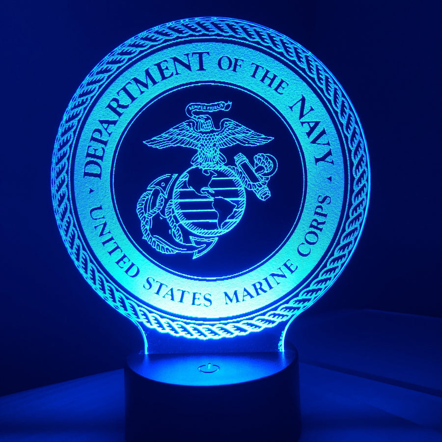 United States Marine Corps - 3D Optical Illusion Lamp Night Light - Carve Craftworks, LLC