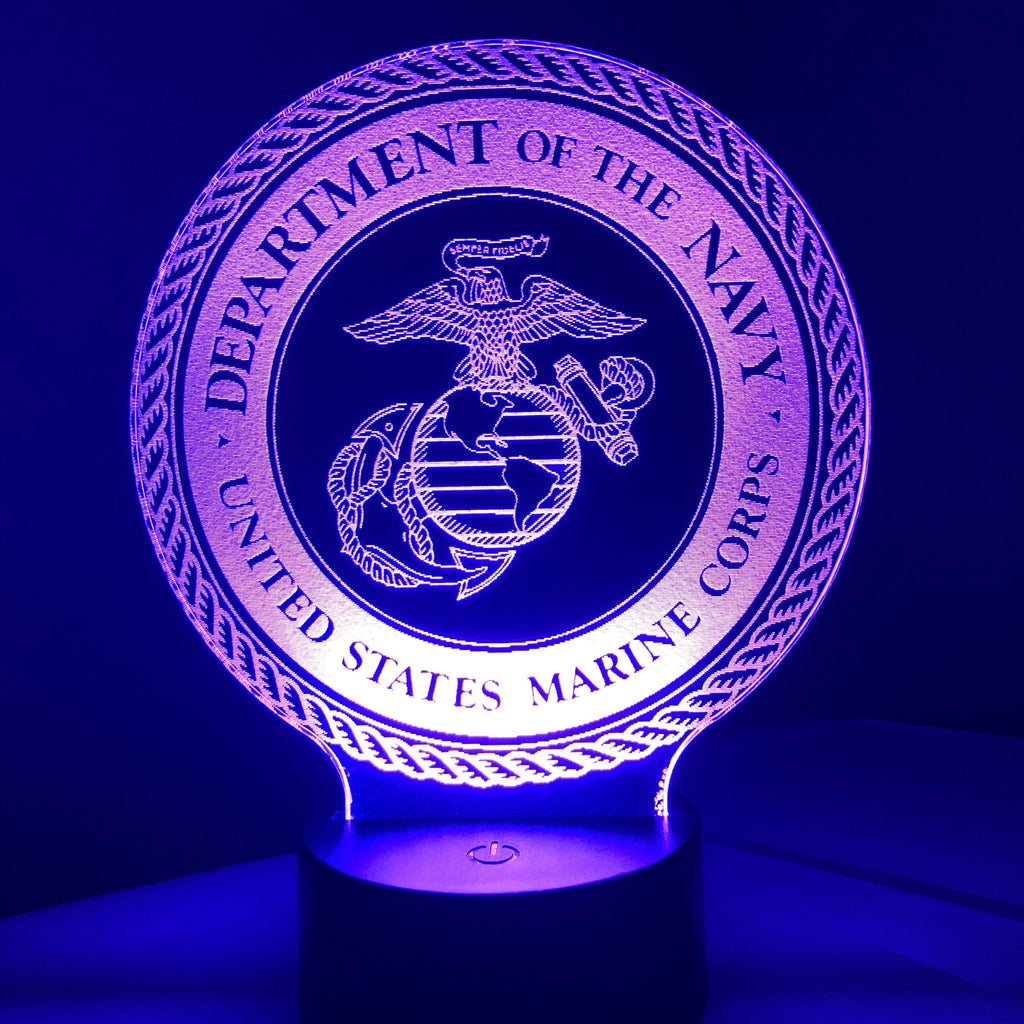 United States Marine Corps - 3D Optical Illusion Lamp - carve-craftworks-llc