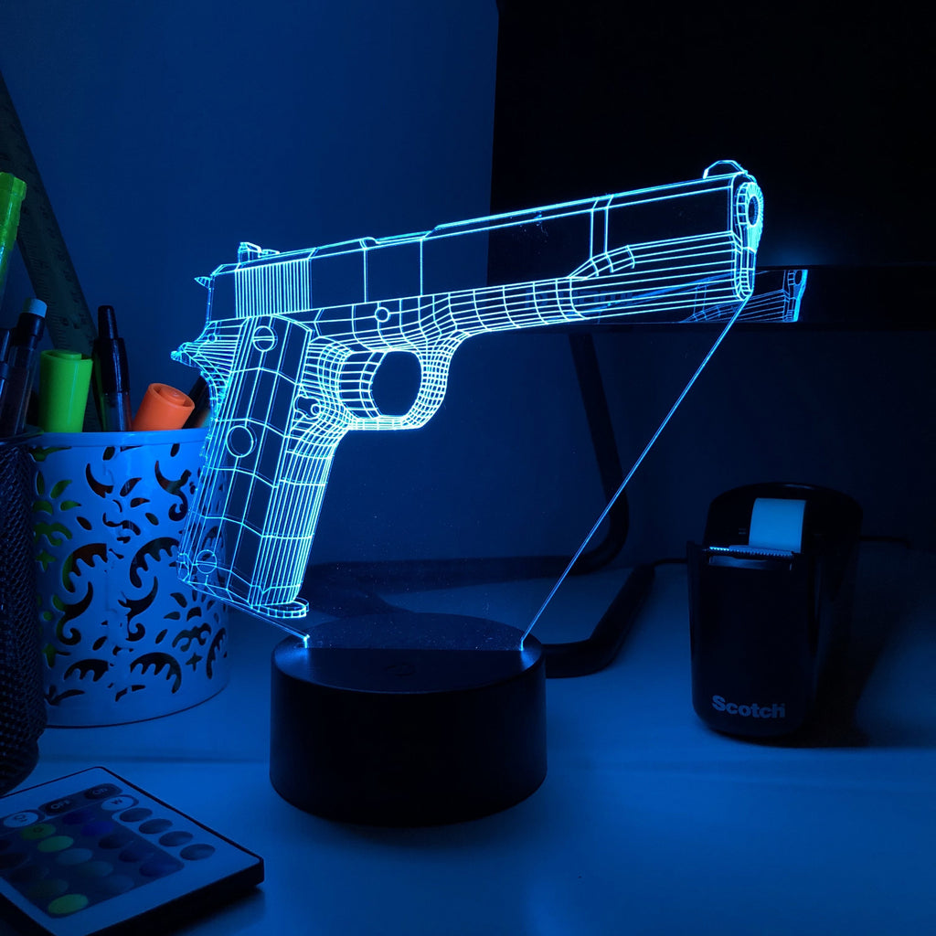 Pistol 2-1 - 3D Optical Illusion Lamp - carve-craftworks-llc