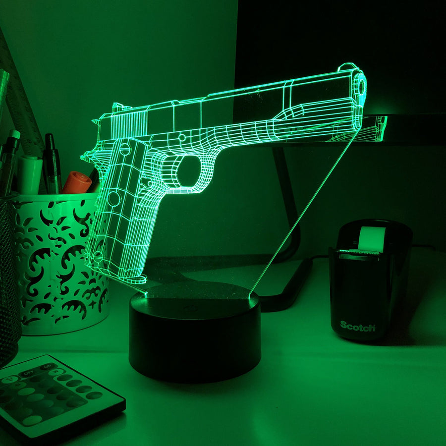 1911 Pistol - 3D Optical Illusion Desk Lamp