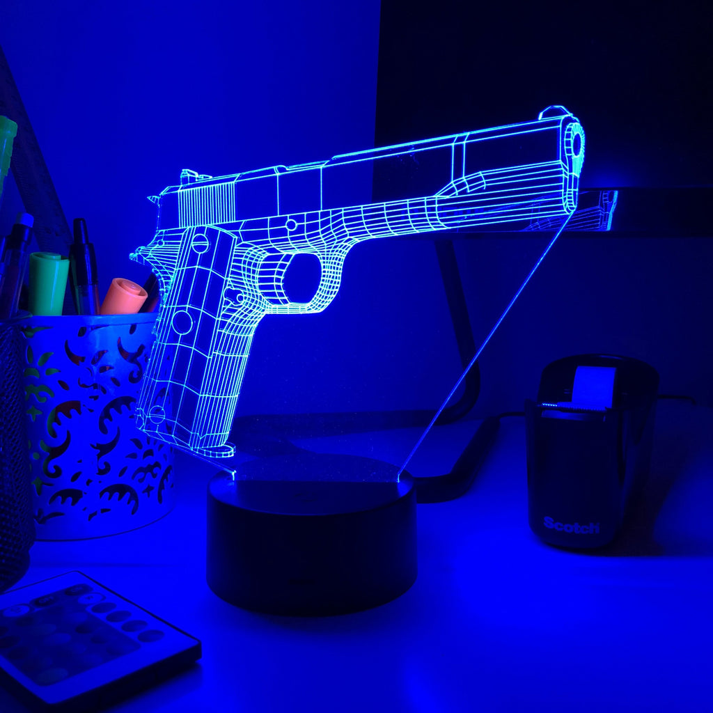 Year 1912-1 Pistol - 3D Optical Illusion Lamp - carve-craftworks-llc