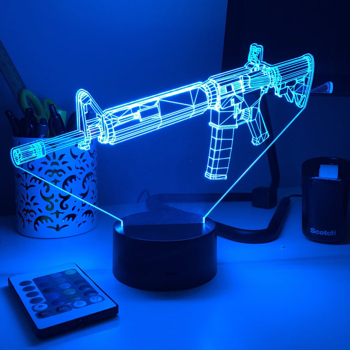 AR-15 - 3D Optical Illusion Desk Lamp - Carve Craftworks, LLC