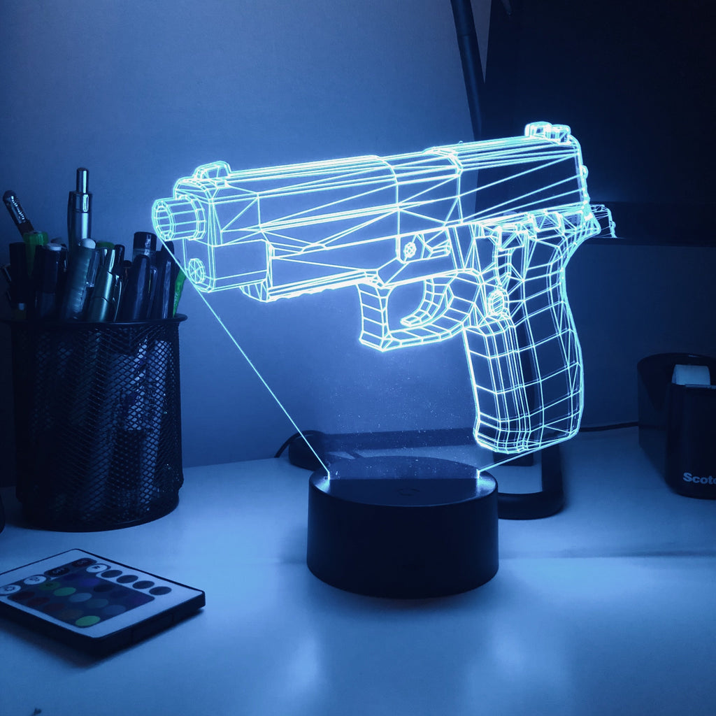 Pistol 7-1 - 3D Optical Illusion Lamp - carve-craftworks-llc