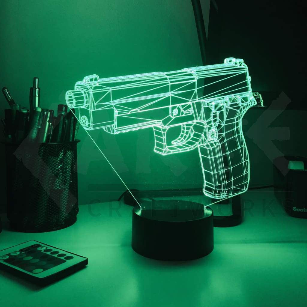 Pistol 227-1 - 3D Optical Illusion Lamp - carve-craftworks-llc