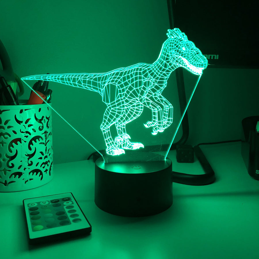 Jurassic Raptor Dinosaur - 3D Optical Lamp - Carve Craftworks, LLC