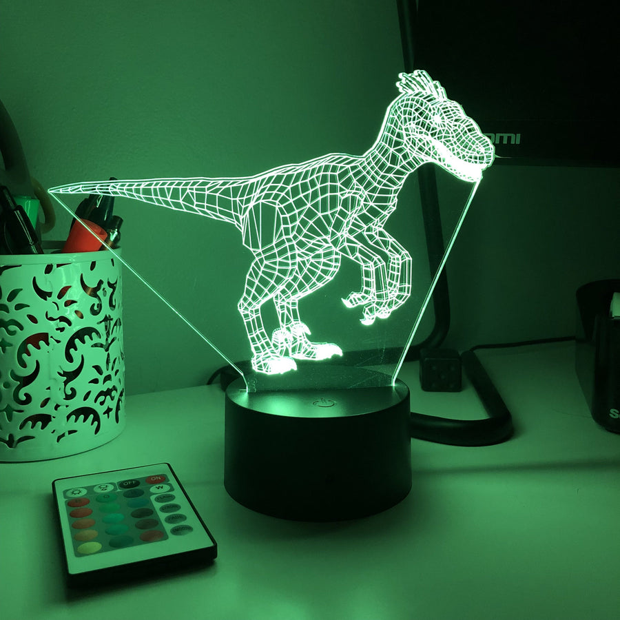 Jurassic Velociraptor Dinosaur - 3D Optical Lamp