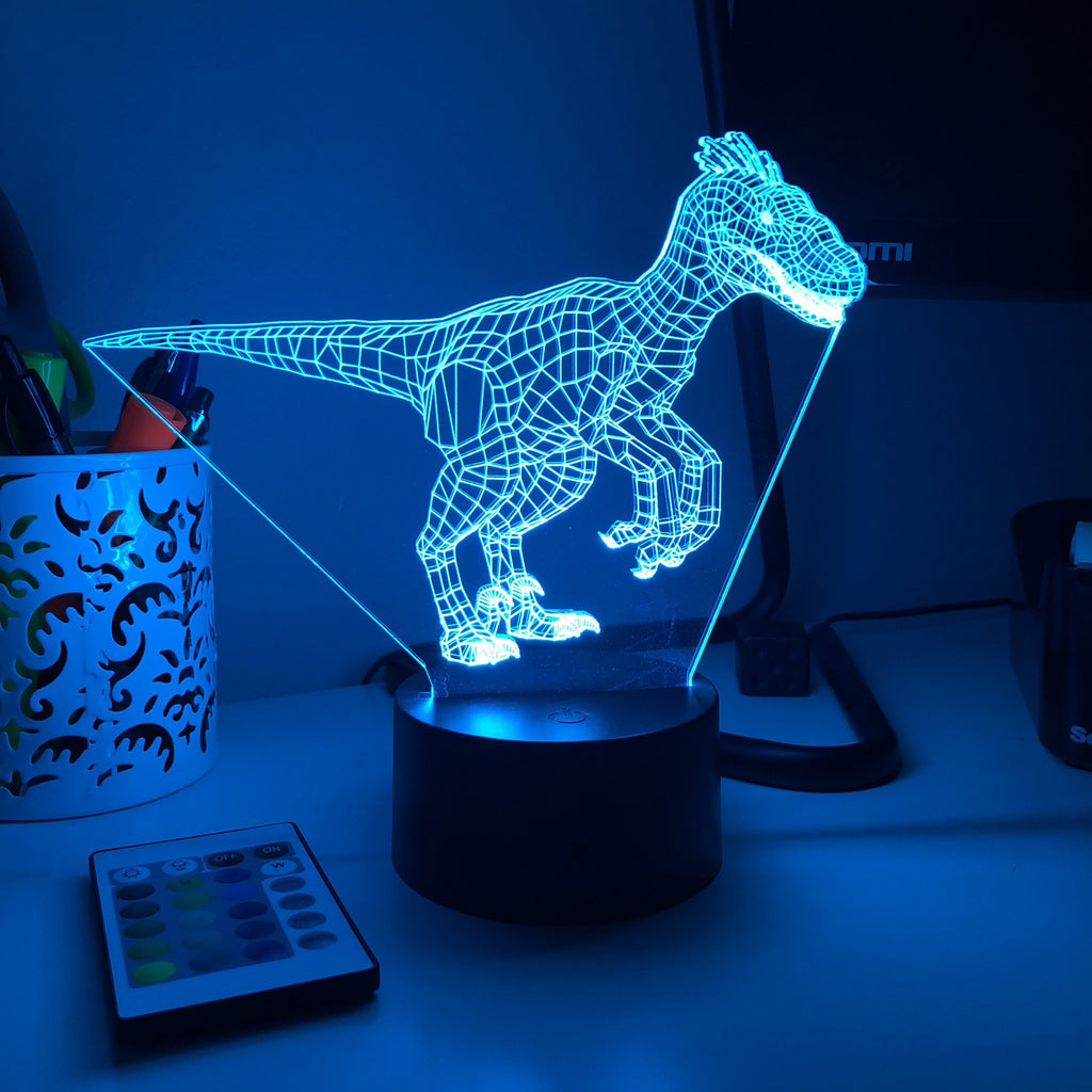 Raptor Dinosaur - 3D Optical Lamp - carve-craftworks-llc