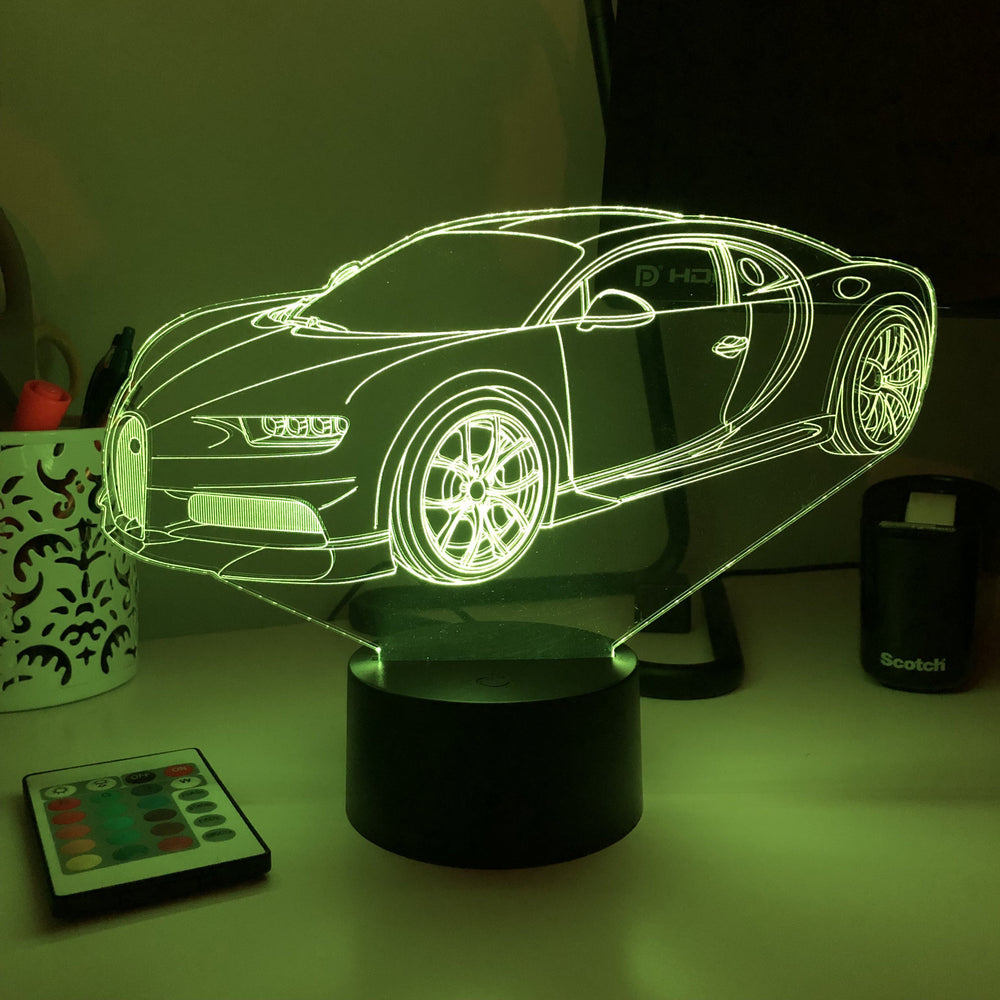 Sports Car- 3D Optical Illusion Lamp - carve-craftworks-llc