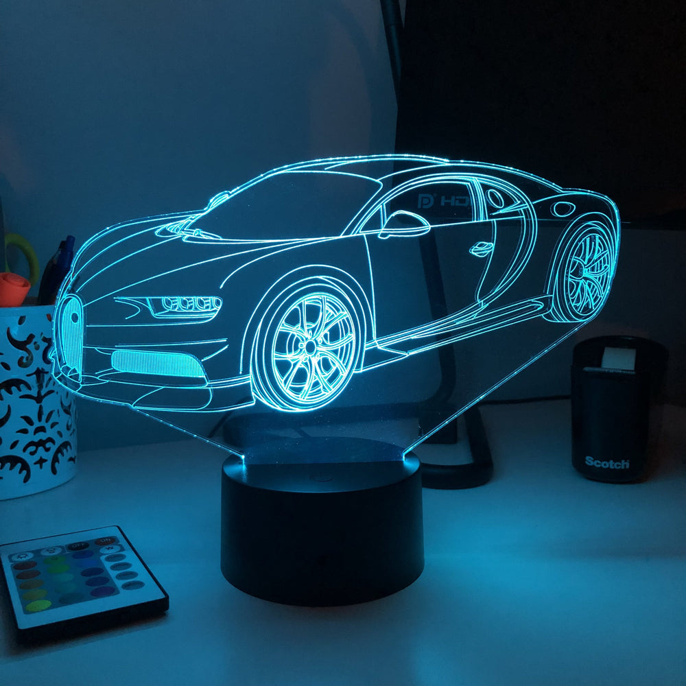 Sports Car Chiron - 3D Optical Illusion Lamp - carve-craftworks-llc