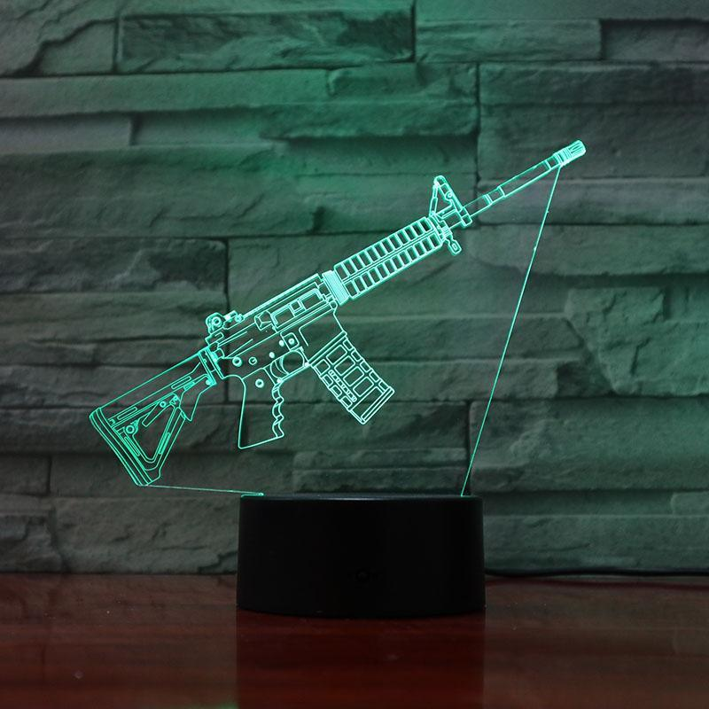 Rifle -15 Slanted - 3D Optical Illusion Lamp - carve-craftworks-llc
