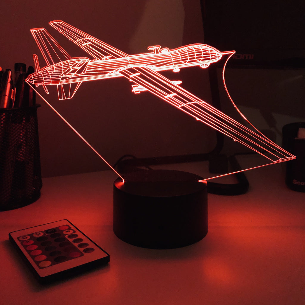 MQ-9 Reaper Drone - 3D Optical Illusion Lamp - carve-craftworks-llc