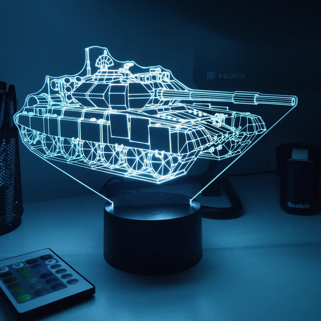 T-90 Main Battle Tank  - 3D Optical Illusion Lamp - carve-craftworks-llc