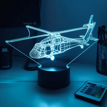 Uh-60 Blackhawk Helicopter - 3D Optical Illusion Desk Lamp