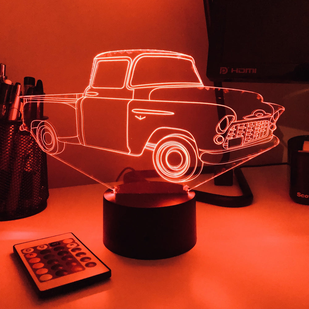 Old Pickup Truck - 3D Optical Illusion Lamp - carve-craftworks-llc