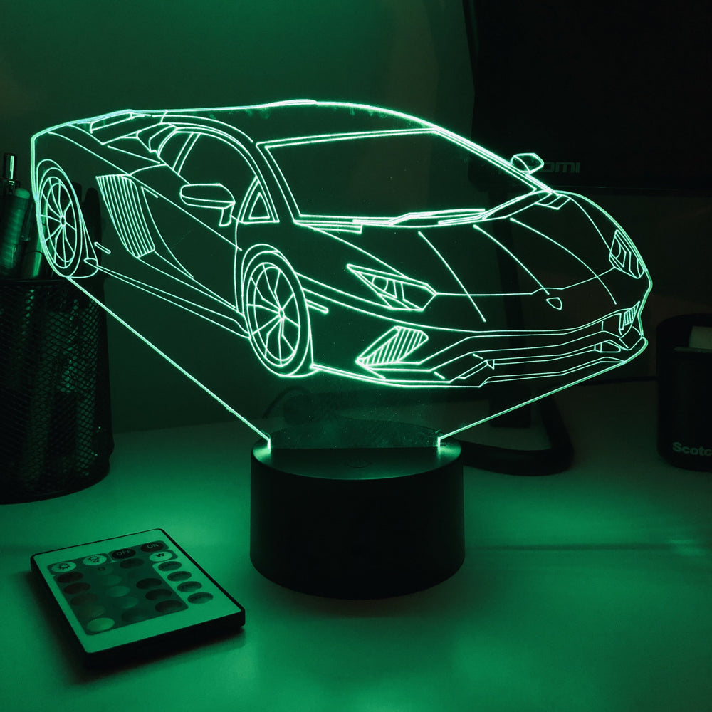 Sports Car Lambo - 3D Optical Illusion Lamp - carve-craftworks-llc