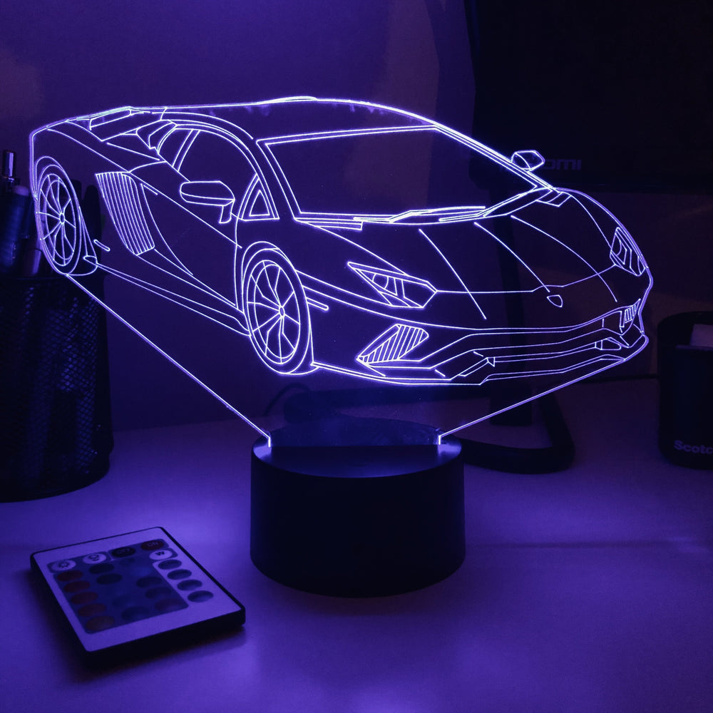 Sports Car - 3D Optical Illusion Lamp - carve-craftworks-llc